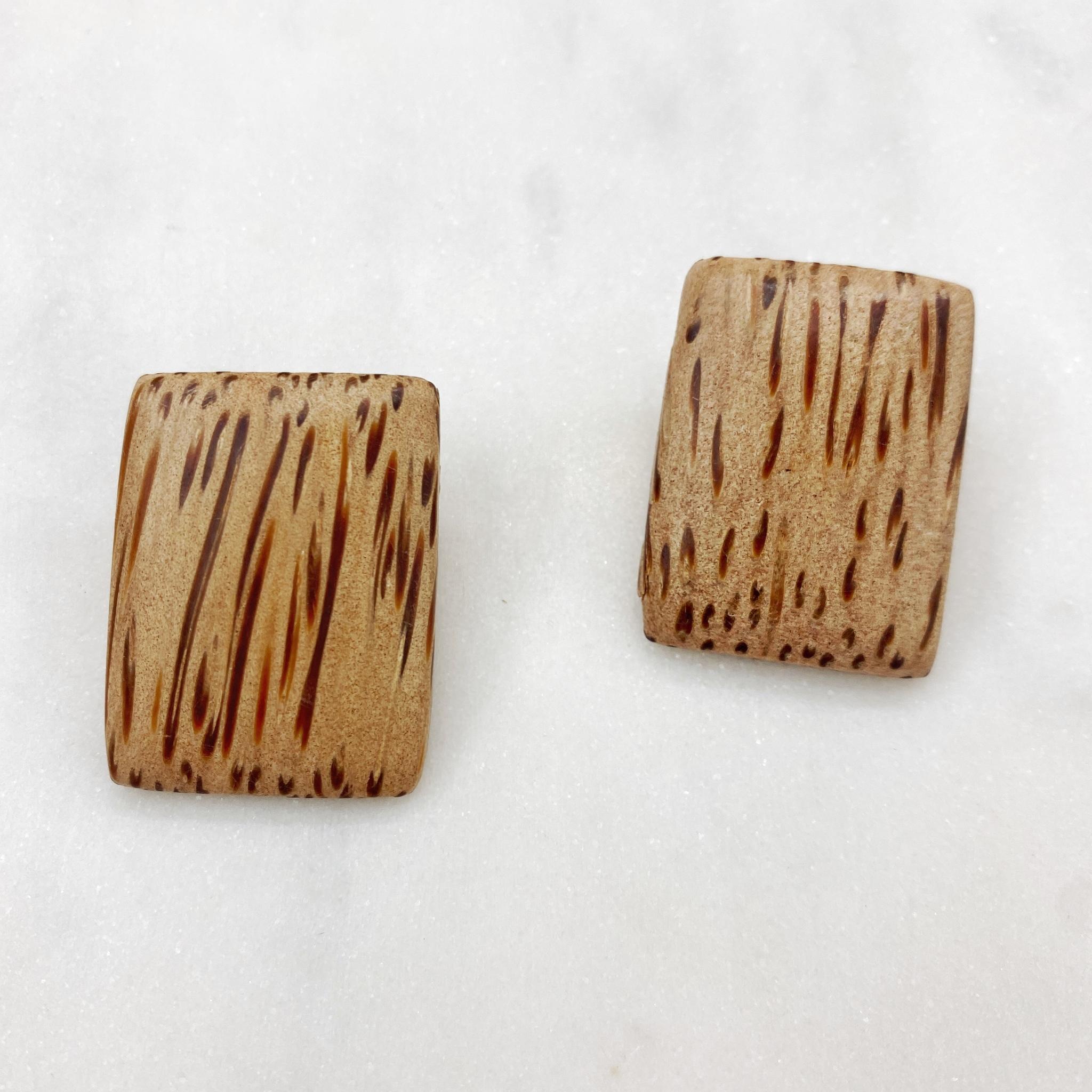 Серьги из натурального дерева (светло-коричневый)