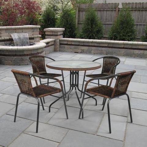 Комплект плетеной мебели Николь-1B CDC02/080RR-D80 Brown (4+1)