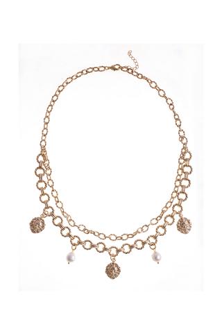 Ожерелье с жемчугом Aurora Leone Gold капли золотистое