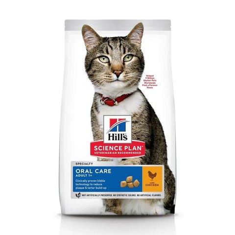 Сухой корм Hill's Science Plan Oral Care для взрослых кошек, способствует удалению зубного камня, с курицей