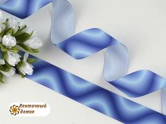 Лента репсовая Волны сине-голубые 25 мм