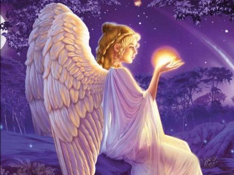 Картина раскраска по номерам 30x40 Ангелок со светящимся шаром в руках