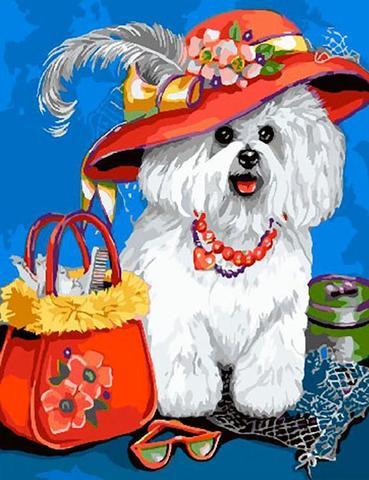 Алмазная Мозаика 5D 40x50 Белый щенок в шляпе с сумочкой