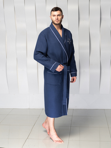 Мужской вафельный халат  PATRICK синий