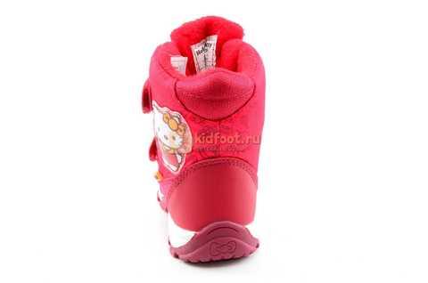 Зимние сапоги Хелло Китти (Hello Kitty) на липучках с мембраной для девочек, цвет красный. Изображение 5 из 14.