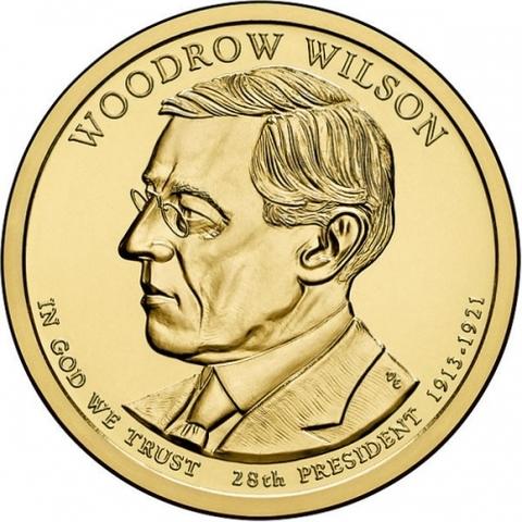 1 доллар 28-й президент США Вудро Вильсон 2013 год