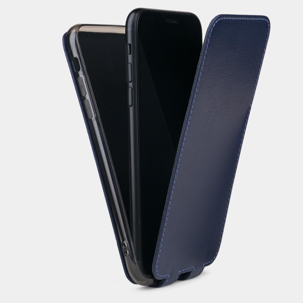 Чехол для iPhone X/XS из натуральной кожи теленка, цвета индиго