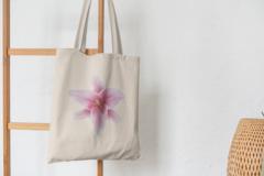 Сумка-шоппер с принтом Цветы (Лилии) бежевая 001