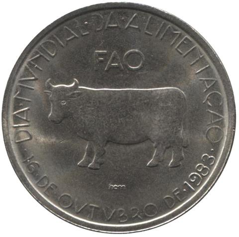 "5 эскудо ""FAO. Корова. Животные"" 1983 год"