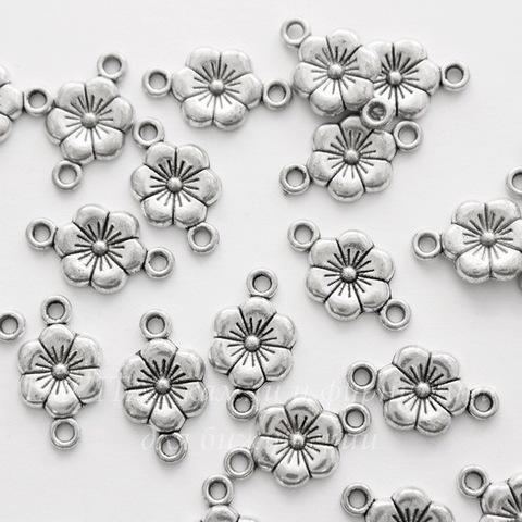 """Коннектор """"Цветок"""" (1-1) 18х10 мм (цвет - античное серебро)"""