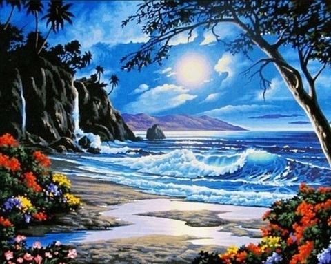 Алмазная Мозаика 40x50 Утро на острове
