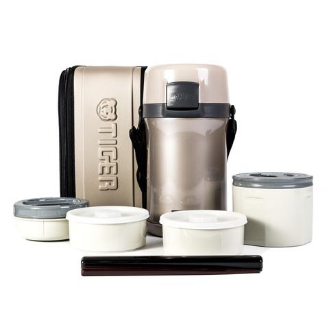 Термос для еды с контейнерами Tiger LWU-F200 Warm Silver (2,0 л)