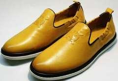 Летние кожаные туфли комфорт мужские King West 053-1022 Yellow-White.