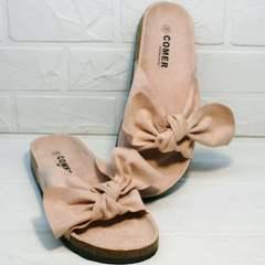 Модные женские шлепки с большим бантом Comer SAR-15 Pink.