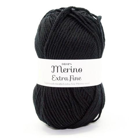 Пряжа Drops Merino Extra Fine 02 черный