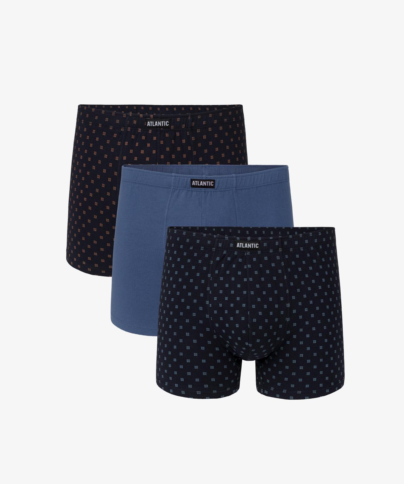 Мужские трусы шорты Atlantic, набор из 3 шт., хлопок, темно-синие + голубые, 3MH-030