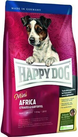 4 кг. HAPPY DOG Сухой корм для собак мелких пород с мясом страуса Supreme Mini Africa
