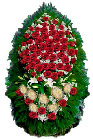 Траурный венок из живых цветов ВЖ 02 -180 см