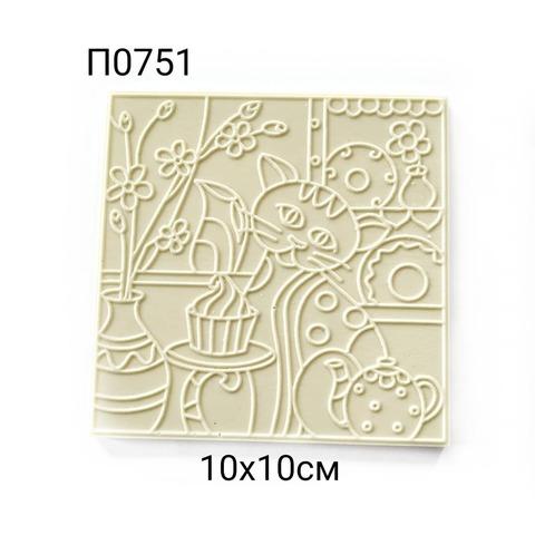 П0751 Плитка декоративная 10х10 см. Кот на кухне.
