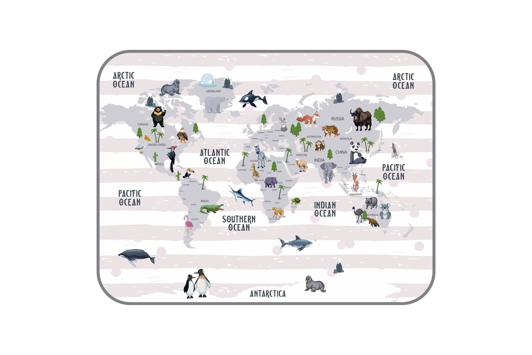 Плюшевый коврик Карта мира 120х160 см