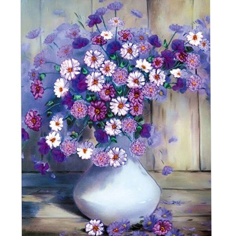 Картина раскраска по номерам 40x50 Букет ромашек и фиолетовых цветов в вазе