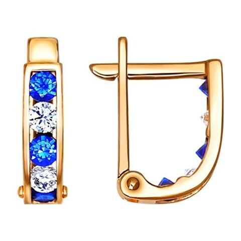 021865 - Серьги из золота с синими фианитами