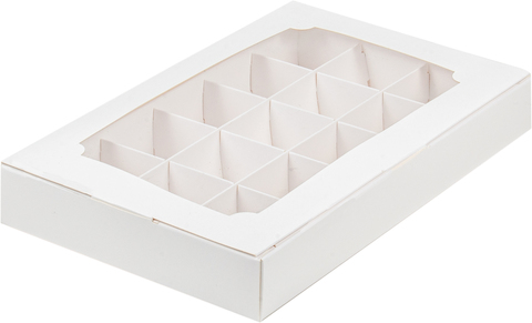 Коробка для конфет (на 15шт) белая, 25,5*16,5*3,5см