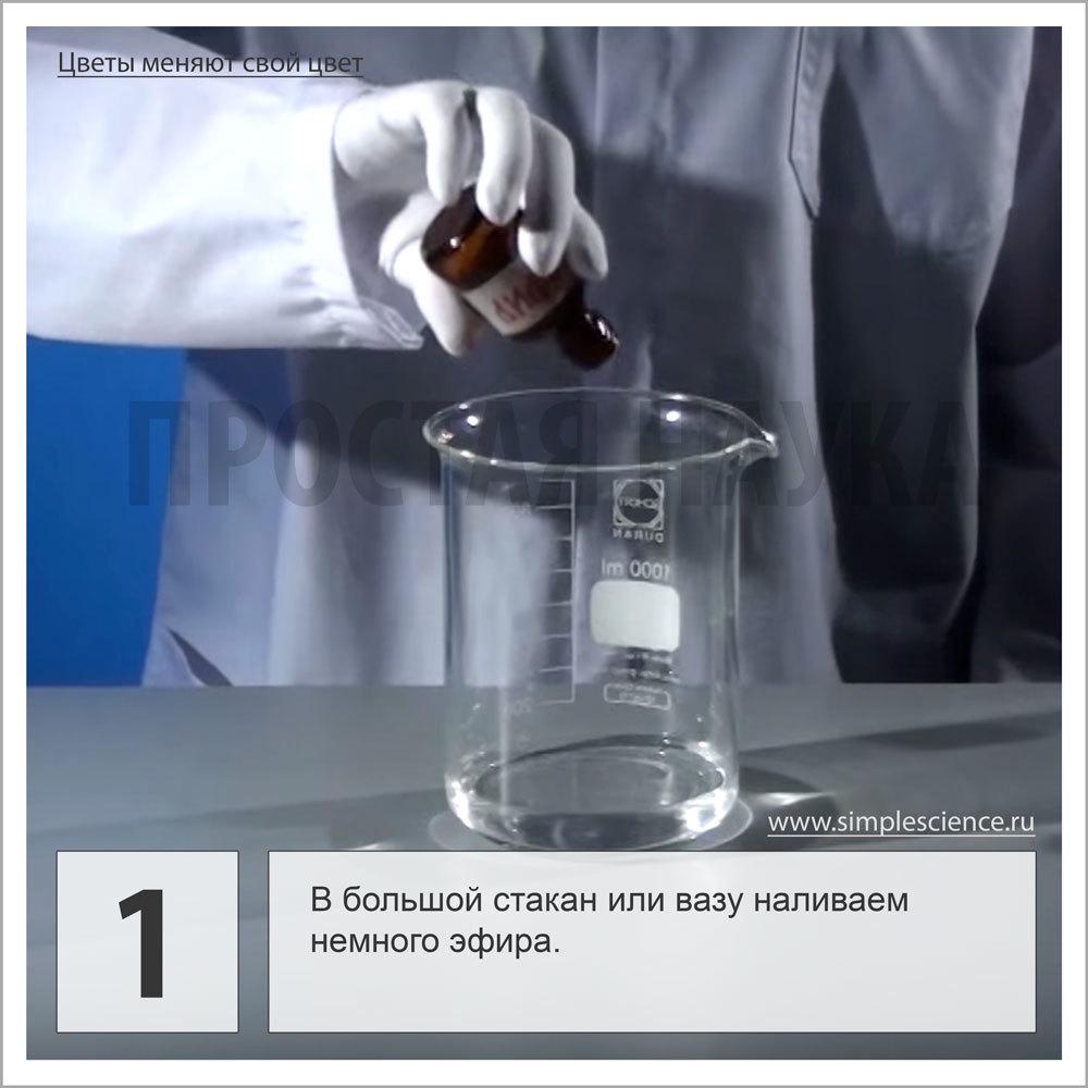 В большой стакан или вазу наливаем немного эфира.
