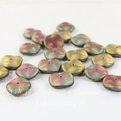 Бусина Ripple Волнистый диск, 12 мм, золотая с фиолетово-зеленым матовая