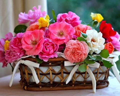 Алмазная Мозаика 40x50 Корзина розовых цветов