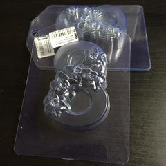 Пластиковая форма для шоколада жен.  ВОСЬМЕРКА с НАРЦИССАМИ 90х60мм