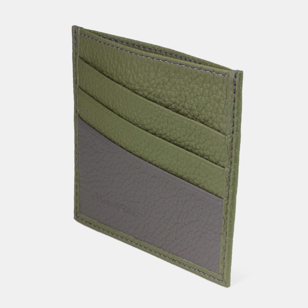 Картхолдер-визитница Carte Bicolor из натуральной кожи теленка, зеленого цвета