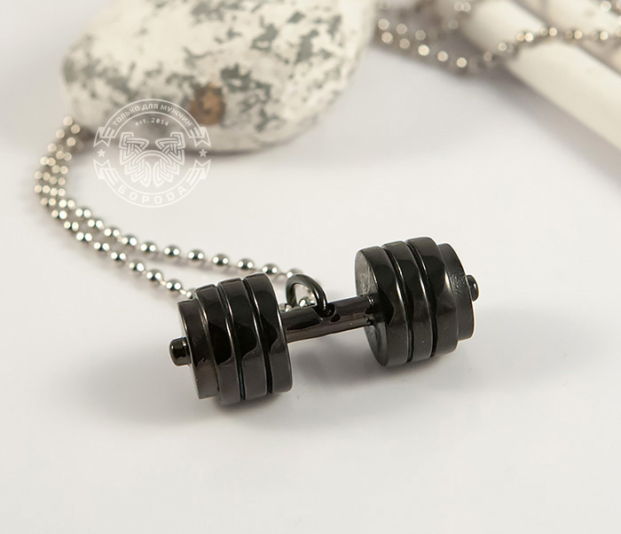PM236-2 Мужская подвеска «Гантель» (штанга) черного цвета из ювелирной стали фото 02