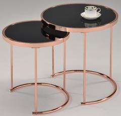 """Набор """"MK-2376-RG"""" из 2-х столиков с чёрной стек.столешницей —  Розовое золото"""