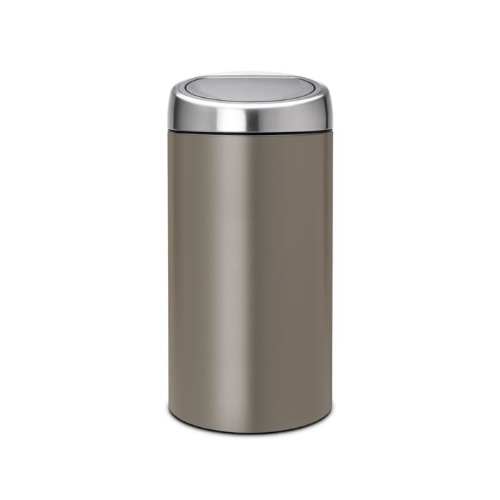 Двухсекционный мусорный бак Touch Bin (2 х 20 л), Платиновый, арт. 403101 - фото 1