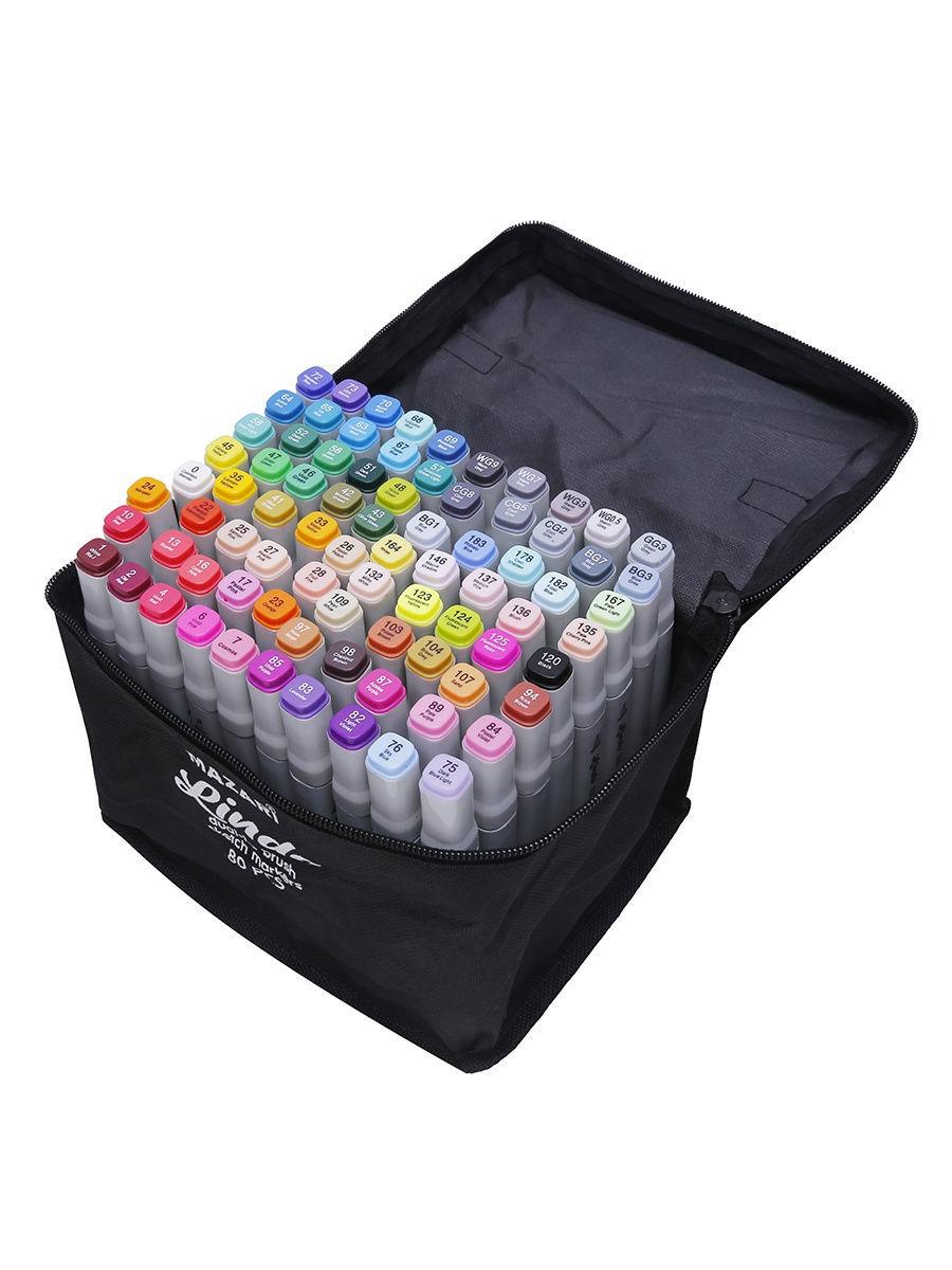 Mazari Lindo набор маркеров для скетчинга 80 шт двусторонние спиртовые кисть/долото 1.0-6.2 мм (вкл. блендер)