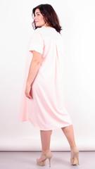 Стефания. Нарядное платье больших размеров. Персик+белый.