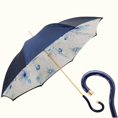 синий женский зонт-трость ручная работа
