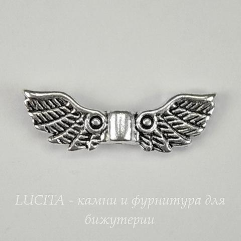 """Бусина металлическая """"Крылья ангела"""" 22х7 мм (цвет - античное серебро)"""