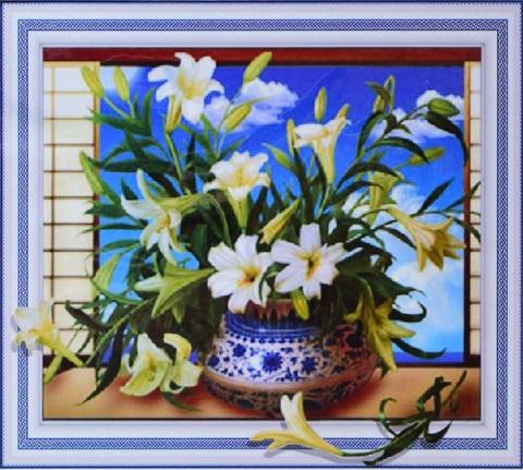 Алмазная Мозаика 5D 40x50 Лилии в сине-белой вазе