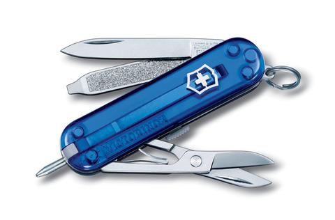 Нож-брелок VICTORINOX Signature 58 мм 7 функций полупрозрачный синий VC6225.T2