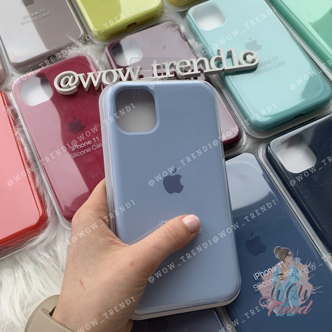 Чехол iPhone XS Max Silicone Case Full /lilac cream/ голубой