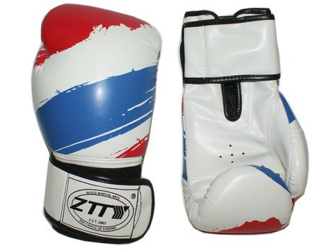 Перчатки боксёрские 14 oz: ZTTY-3G-14-Б Цвет - белый с синими и красными вставками.