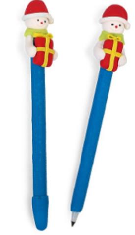 061-0200 Ручка шариковая-прикол, «Снеговик с подарком»