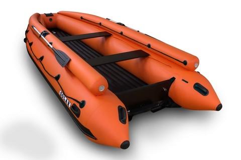 Надувная ПВХ-лодка Солар - 420 Strela Jet Tunnel с фальшбортом (оранжевый)