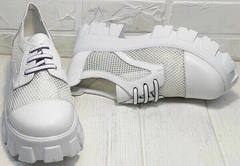 Летняя женская обувь. Белые туфли на платформе сеточка Gold Deer 157-963 White.