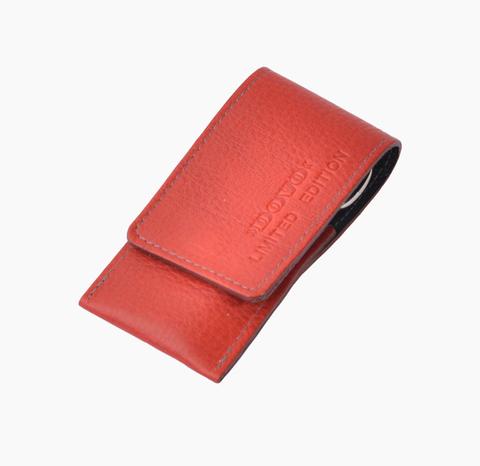Маникюрный набор Dovo LE, 3 предмета, кожаный футляр (вол), цвет красный