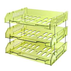 Лоток для бумаг горизонтальный Стамм Сити на металлических стержнях зеленый (3 штуки в упаковке)