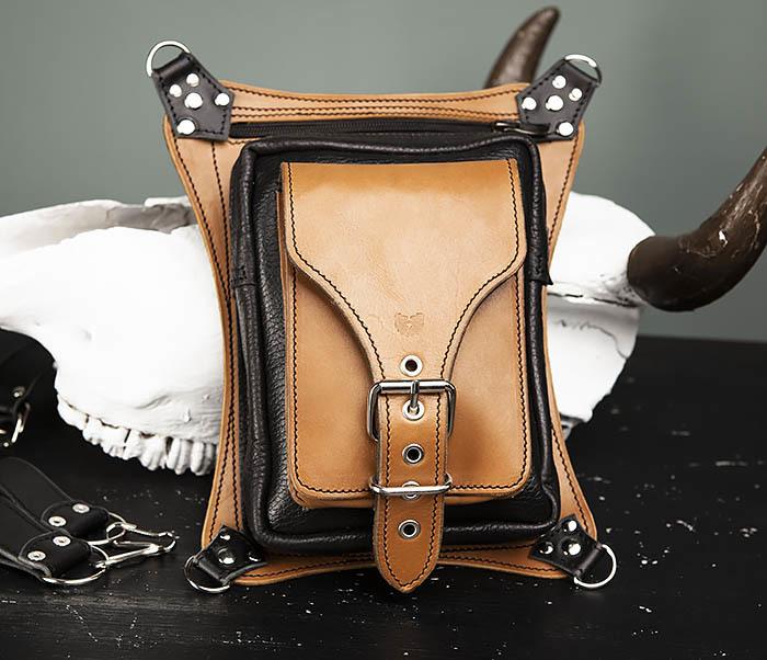 BAG369-6 Крутая мужская сумка на бедро из натуральной кожи, ручная работа