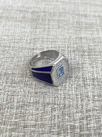 Кольцо Печатка синее, серебро